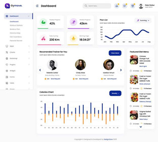 Fitness app management background ui interface template