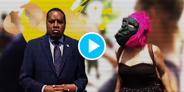 """DEMOCRATS RUN EVERYTHING!"": Larry Elder and Entourage get assaulted by Crazed Democrat In Gorilla mask With Crackhead Buddies…"