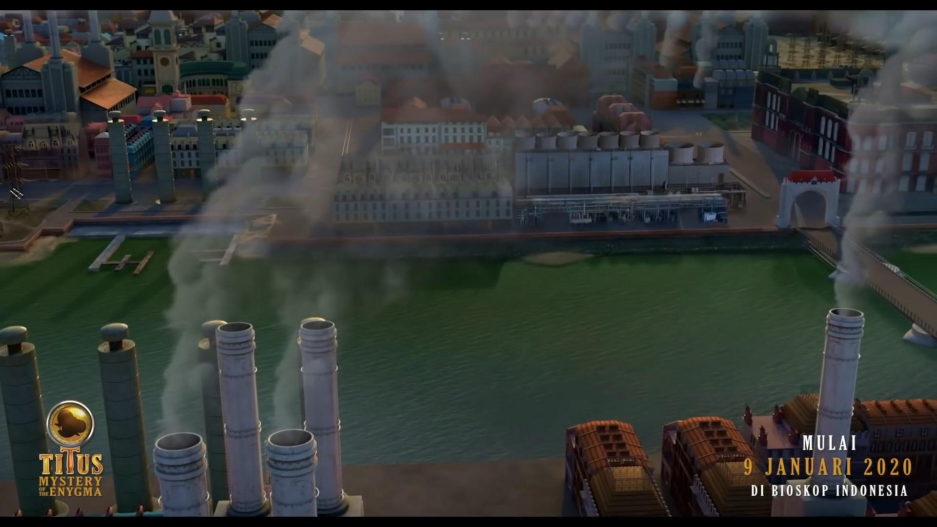 Gambar Kota Steamburg dalam video trailer berbahasa Indonesia