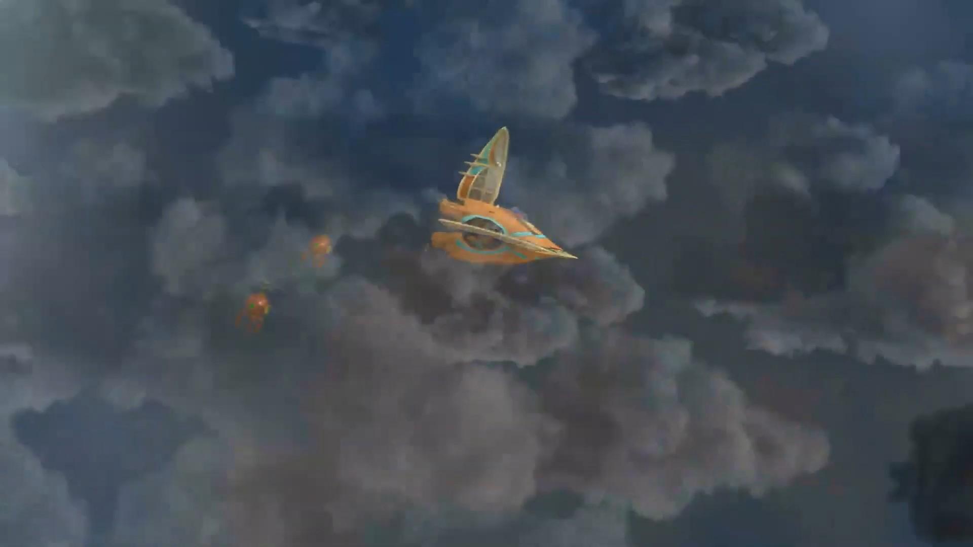 Gambar pesawat Fyra yang dikejar oleh robot pelindung pulau Enygma